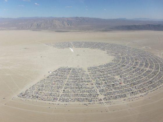 Burning Man fesztivál felülről Black Rock city