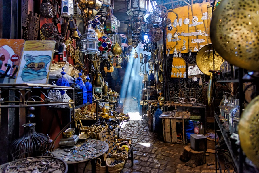 Souk medina Marokkói piac Marrakech