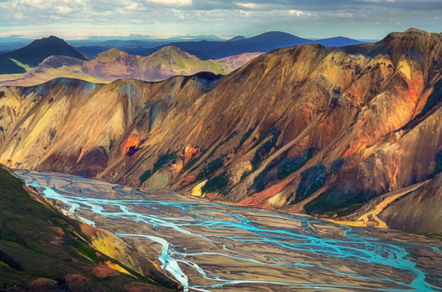 Landmannalaugar riolit hegyek Izlandon