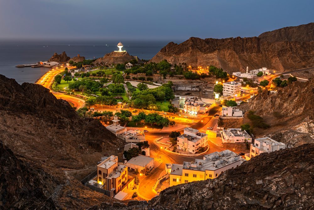mutrah erőd omán maszkat látnivalók este